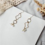 May Handmade Irregular Nature Pearl Crystal Earrings 14K Gold Plated