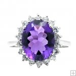 Genuine Amethyst CZ Diamonds 925 Silver White Gold Plating Ring Prince William Kate Middleton Oval Engagement Ring
