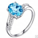 Genuine 2.4ct Blue Topaz CZ Diamonds 925 Sterling Silver Ring