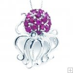 Genuine Ruby 925 Silver 18K White Gold Plating LUXURY Cute Jelly Fish Necklace