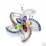 Genuine Amethyst Peridot Garnet Citrine Sapphire 925 Sterling Silver 18K White Gold Plating LUXURY HUGE Necklace