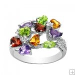 Genuine Amethyst Garnet Peridot Citrine 925 Sterling Silver White Gold Plating Luxury Ring