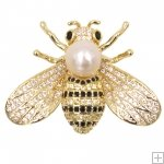 Bee Handmade Nature Baroque Pearl Diamonds Pin Gold Plated Silver