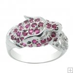 Genuine Ruby 925 Sterling Silver 18K White Gold Plating LUXURY Leopard Ring