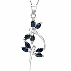 Genuine nature sapphire 18k white gold plated 925 sterling silver necklace aloadofball Gallery